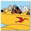 Toile Canevas Tintin L'avion biplan jaune Tintin au Congo 23523 (100x100cm)