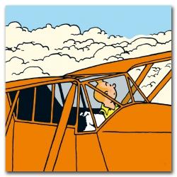 Cuadro canva Tintín Los cigarros del faraón El avión naranja 23524 (100x100cm)