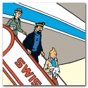 Toile Canevas Tintin L'avion Swissair de L'affaire Tournesol 23525 (100x100cm)