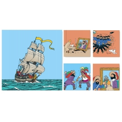 5 Framed Canvas Set Tintin The Secret of the Unicorn 23512 (2010)