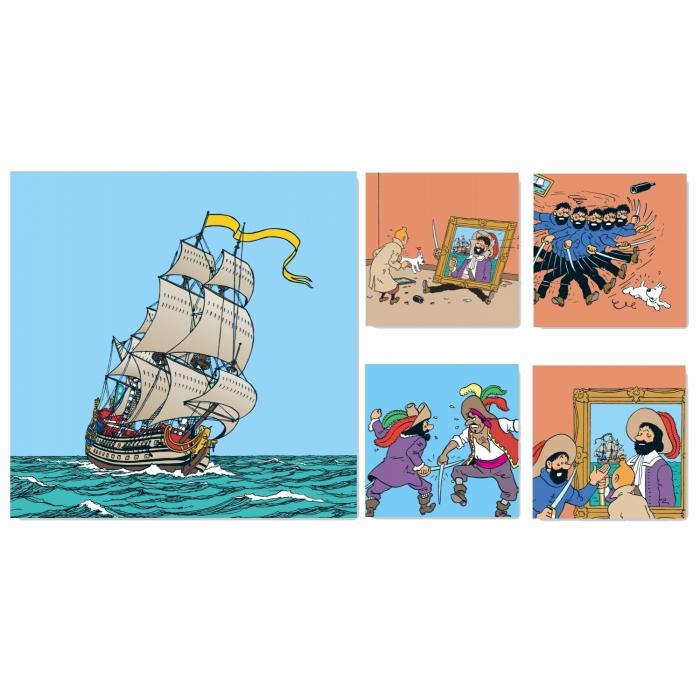 Set de 5 cuadros canvas Tintín El secreto del Unicornio 23512 (2010)