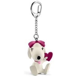 Porte-clés figurine Schleich® Peanuts Snoopy, Belle avec coeur (22037)