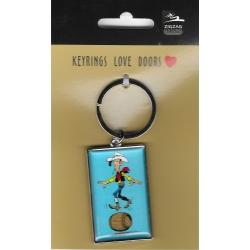Collectible Keychain Lucky Luke, balancing in a barrel (3x5cm)
