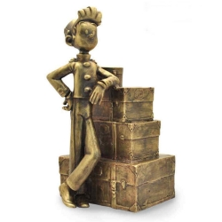 Collectible bronze figurine Pixi Spirou and the stack of luggage 5236 (2020)