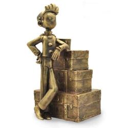 Figura de colección en bronce Pixi Spirou y la pila de equipaje 5236 (2020)