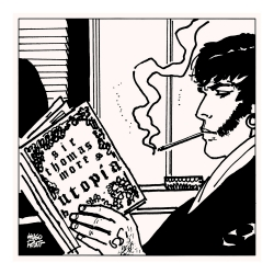 Serigrafía Corto Maltés, Retrato de Corto leyendo Utopia (30x30cm)