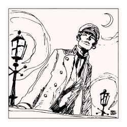 Silkscreen printing Corto Maltese, Corto the night (30x30cm)