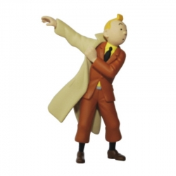 Figurine de collection Tintin mettant son trench 8,5cm Moulinsart 42473 (2011)
