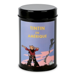 Moulinsart Tin Ground Coffee Box, Tintin in America colorized, Yawn (250g)