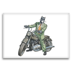 Decorative magnet Blacksad, John on Triumph motorcycle (79x55mm)