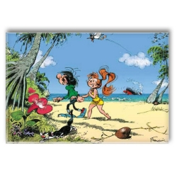 Decorative magnet Gaston Lagaffe and Mlle Jeanne on holiday (79x55mm)