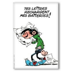 Decorative magnet Gaston Lagaffe, Tes lettres rechargent mes batteries (55x79mm)