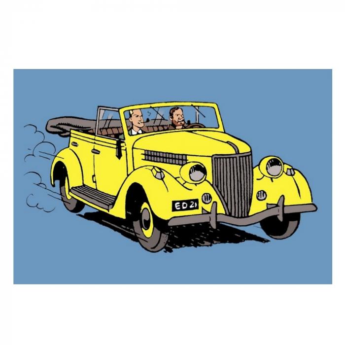 Postcard Blake and Mortimer: The yellow convertible (10x15cm)