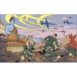 Postal de Blake y Mortimer: caos bajo la atenta mirada de Buda (15x10cm)