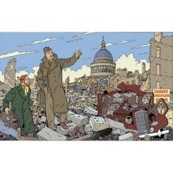 Postal de Blake y Mortimer: ciudad en ruinas (15x10cm)