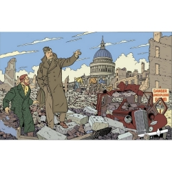 Postcard Blake and Mortimer: ruined city (15x10cm)