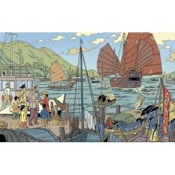Postal de Blake y Mortimer: el puerto (15x10cm)