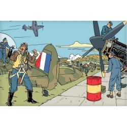 Carte postale de Blake et Mortimer: attaque sur le tarmac (15x10cm)