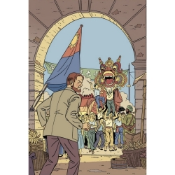 Carte postale de Blake et Mortimer: festivités (10x15cm)