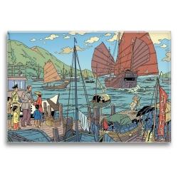 Aimant magnet décoratif Blake et Mortimer, le port (79x55mm)