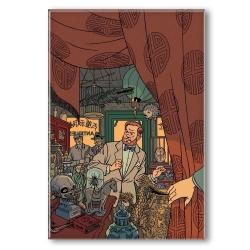 Imán decorativo Blake y Mortimer, en la tienda de antigüedades (55x79mm)