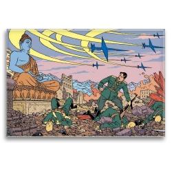Imán decorativo Blake y Mortimer, caos bajo la atenta mirada de Buda (79x55mm)