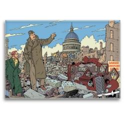 Aimant magnet décoratif Blake et Mortimer, ville en ruine (79x55mm)