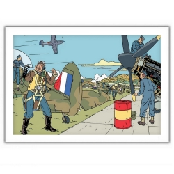 Poster affiche offset Blake et Mortimer, attaque sur le tarmac (35,5x28cm)