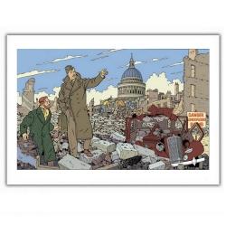 Poster affiche offset Blake et Mortimer, ville en ruine (35,5x28cm)