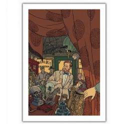 Póster cartel offset Blake y Mortimer, en la tienda de antigüedades (28x35,5cm)