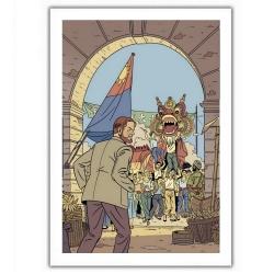 Poster affiche offset Blake et Mortimer, festivités (28x35,5cm)