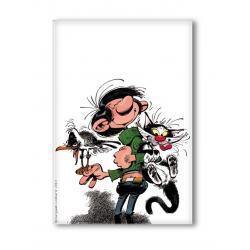 Aimant magnet décoratif Gaston Lagaffe avec chat et mouette (55x79mm)