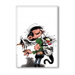 Decorative magnet Gaston Lagaffe with his cat and seagull (55x79mm)