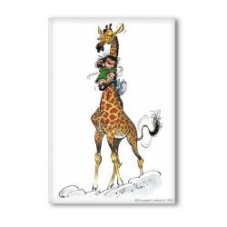 Aimant magnet décoratif Gaston Lagaffe avec sa girafe (55x79mm)