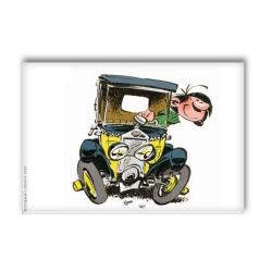 Aimant magnet décoratif Gaston Lagaffe dans sa voiture (79x55mm)