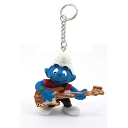 The Smurfs Schleich® keyring chain figurine, the Guitarist Smurf (755722)