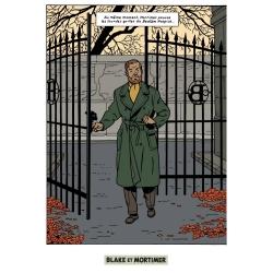 Carte postale Blake et Mortimer: Le cri du Moloch, Mortimer à la grille (10x15)