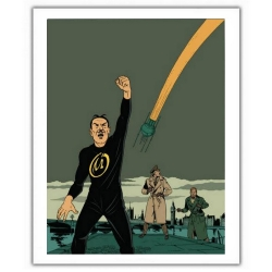 Poster affiche offset Blake et Mortimer, Le cri du Moloch, Olrik et le rayon