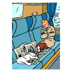 A4 Plastic Folder The Adventures of Tintin, sleeping in the train (15142)