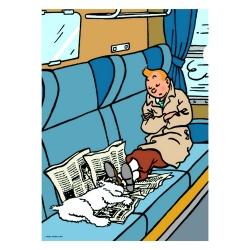 Carpeta dossier A4 Las aventuras de Tintín, durmiendo en el tren (15142)