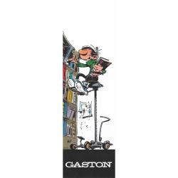 Marque-page en papier Gaston Lagaffe, dans sa bibliothèque (50x170mm)