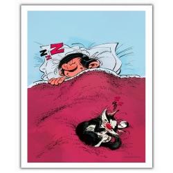 Poster affiche offset Gaston Lagaffe, dormant avec son chat (28x35,5cm)