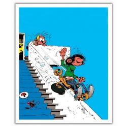 Poster affiche offset Gaston Lagaffe, sur la rampe d'escalier (28x35,5cm)