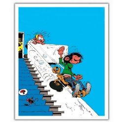 Poster offset Gaston Lagaffe, on the stair rail (28x35,5cm)