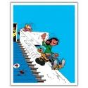 Poster offset Gaston Lagaffe, on the stair rail (28x35,5cm)