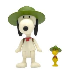 Figura Peanuts® Super7 Serie ReAction, Snoopy y Woodstock con sombrero