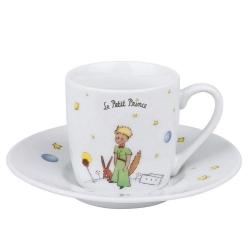 Taza mug de café expresso con platillo Könitz en porcelana El Principito (Secret EN)