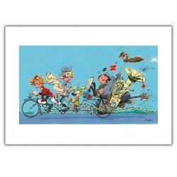 Poster affiche offset Gaston Lagaffe en vélo avec Spirou et Fantasio (60x40cm)