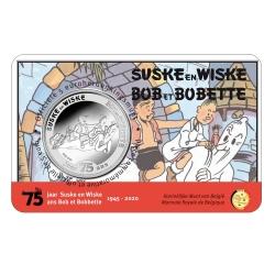 Pièce commémorative 5 € Belgique Bob et Bobette 75 ans Relief BU (2020)