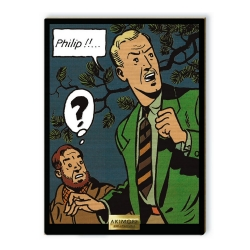Collectible maple wood chart sign Blake and Mortimer  Philip !! (20x27cm)